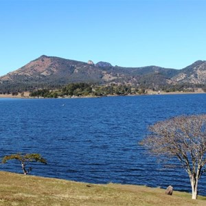 View over Lake Moogerah to surrounding mountains