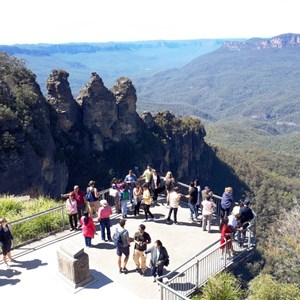 The lower viewing deck and The Three Sisters