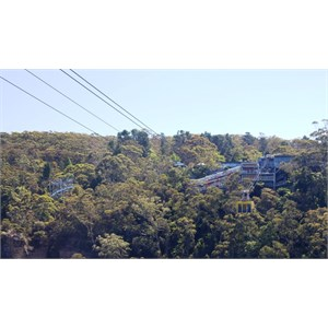 View of Scenic World from the Katoomba Falls track