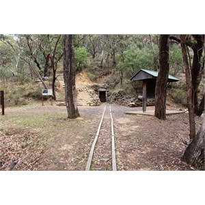 Timber trolley tracks lead to the mine entrance