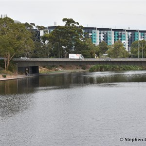 View from the new Adelaide Riverbank Pedestrian Bridge