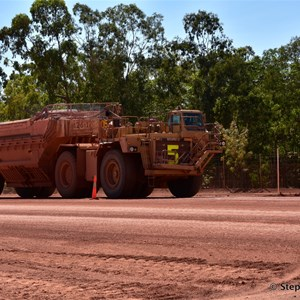 Empty truck on the Haul Road heading back for another load of Bauxite