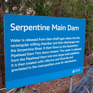 Signs explain how the dam is used