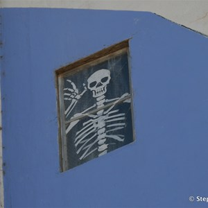 This skeleton is embedded in the silo art