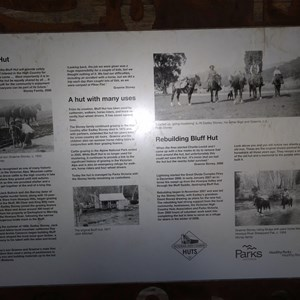 Info panel inside Bluff Hut - 2016
