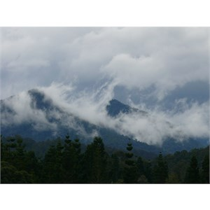 Sweeping clouds over the mountains