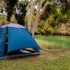 Shade tent setup at picnic area