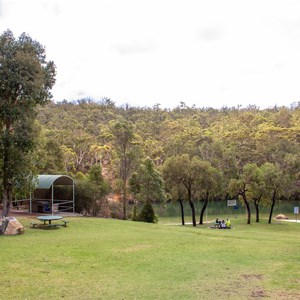 View from carpark over picnic area