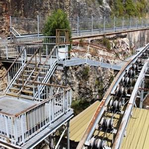 Construction and maintenance equipment at Gordon Dam