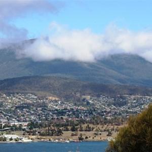 A cloud covered Mount Wellington