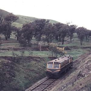 Historic photo of train travelling through Merton Pass