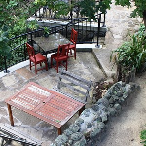 The out door eating area