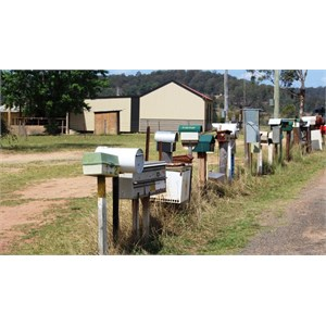 Letterboxes line the road