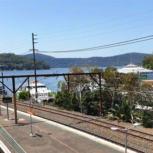 View over the northbound railway tracks to Dangar Island