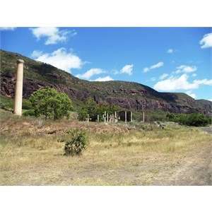 Mine stack and other building remains - Mt Mulligan