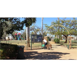 Memorial Park gates and public tap