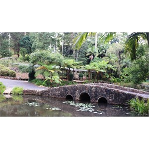 Stone foot bridge and shelters at the Botanical Gardens