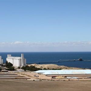 Ardrossan Port and grain storage.