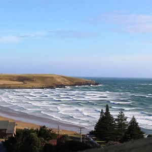 Godfreys Beach to the north of Stanley in a brisk south easterly wind.