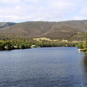 The Huon River down stream of the bridge