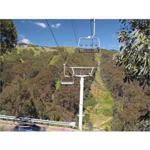 Snowless summertime ski slopes