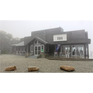 Licensed restaurant at the summit on a foggy day.