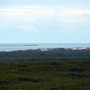 Looking NW over pristine acacia scrublands; Boullanger Island (off Jurien Bay) in the background.