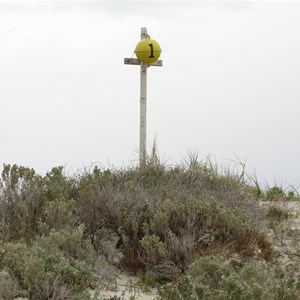1 km marker from Bird Obs beach exit