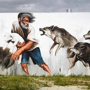 Mural by the silo artist, Evoca1.
