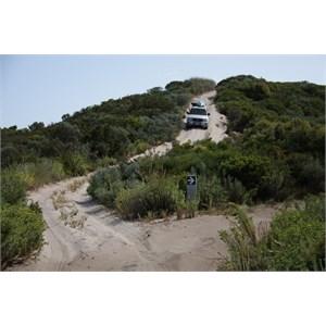 Descending the Blue Holes exit dune
