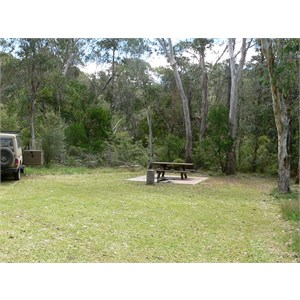 Mooraback camp, open grassy area and firepits