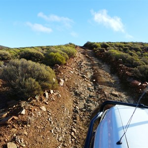 The rocky track to the summit of Mt Caernarvon