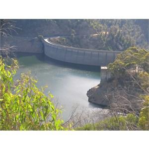 Concrete arch dam where valley narrows