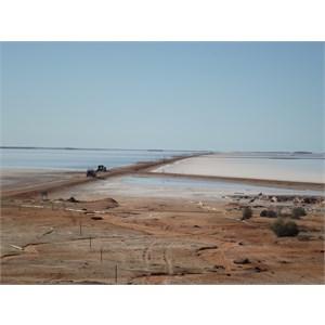the lake with salt ponds