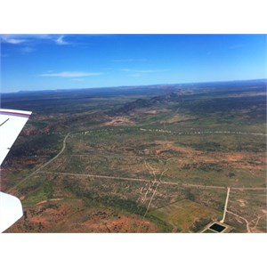 View of East MacDonnell Ranges from above Alice Springs