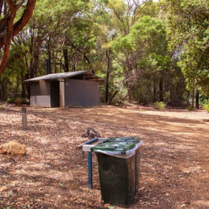 Bins, toilets, and day use carpark near picnic area