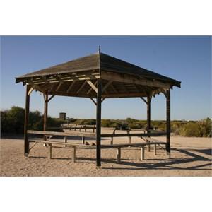 Rotunda huts offer shade/shelter