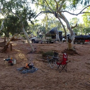 Camp on the eastern bank