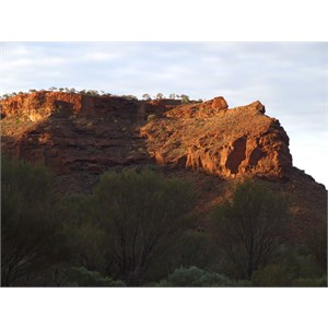 Sunset on the buttresses surrounding Temple Gorge Campground