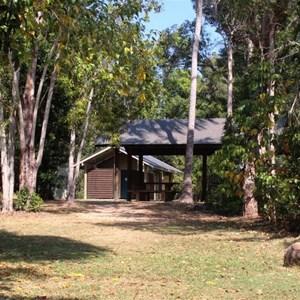 Water Park Creek amenities block. Camping area is behind.