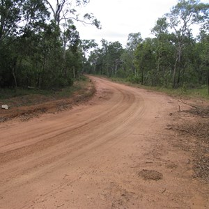 Road east of creek