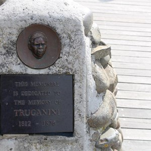 The  Truganini memorial plaque on the viewing deck