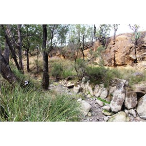The dry creek by the camping area