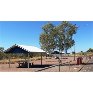Clean picnic shelters with bins