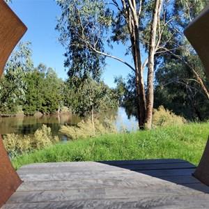 Murrumbidgee River viewed through a sculpture