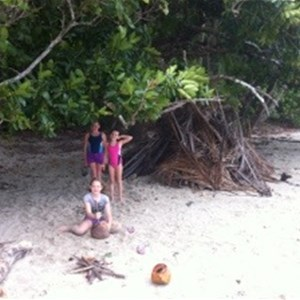 Playing on the beach at Cape Trib Camping
